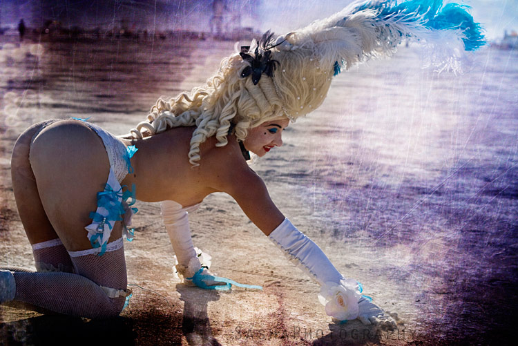 Marie Antoinette prowls the playa at Burning Man.