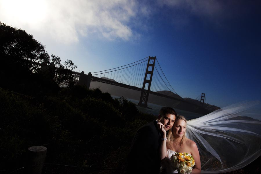 golden gate bridge bride groom