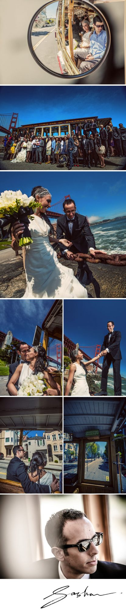 cable car golden gate bridge wedding