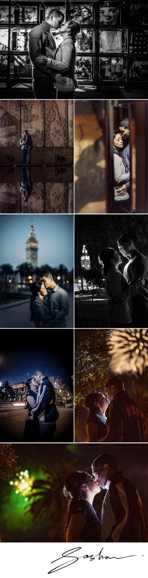 san francisco engagement session att park embarcadero ferry building
