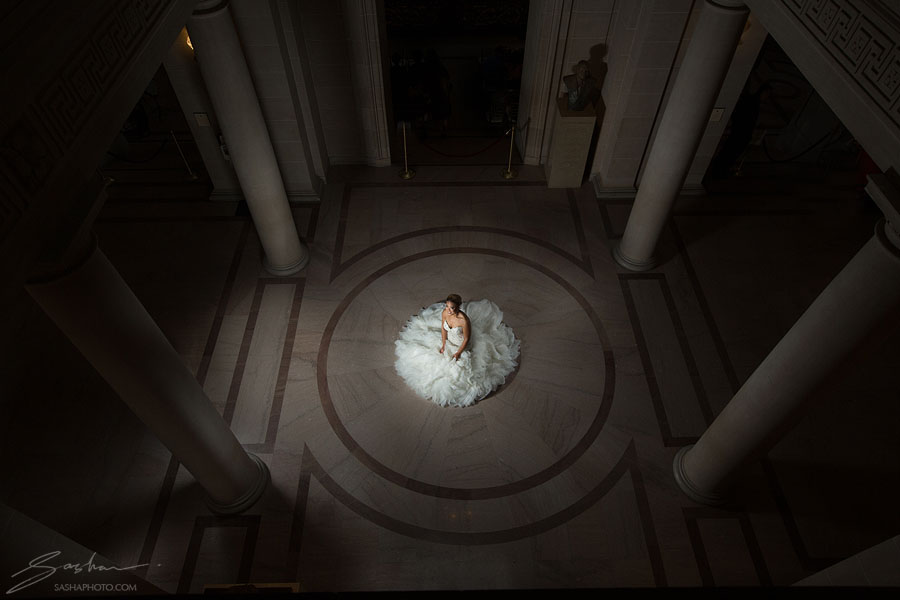 city hall bride from above