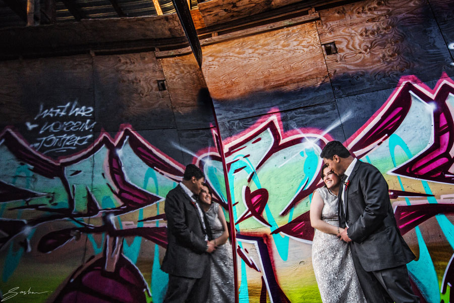 san francisco mural grafitti wedding photo