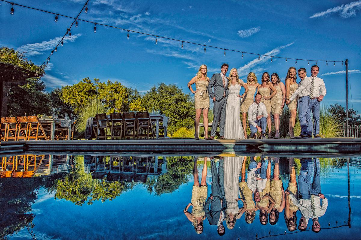 wedding party pool reflection
