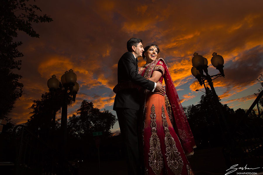 indian wedding sunset