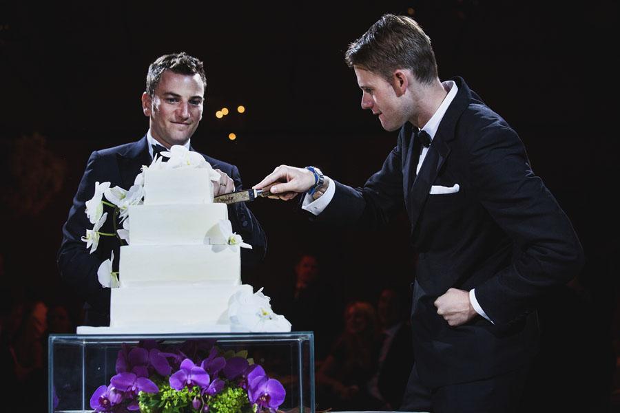 gay wedding cake cutting