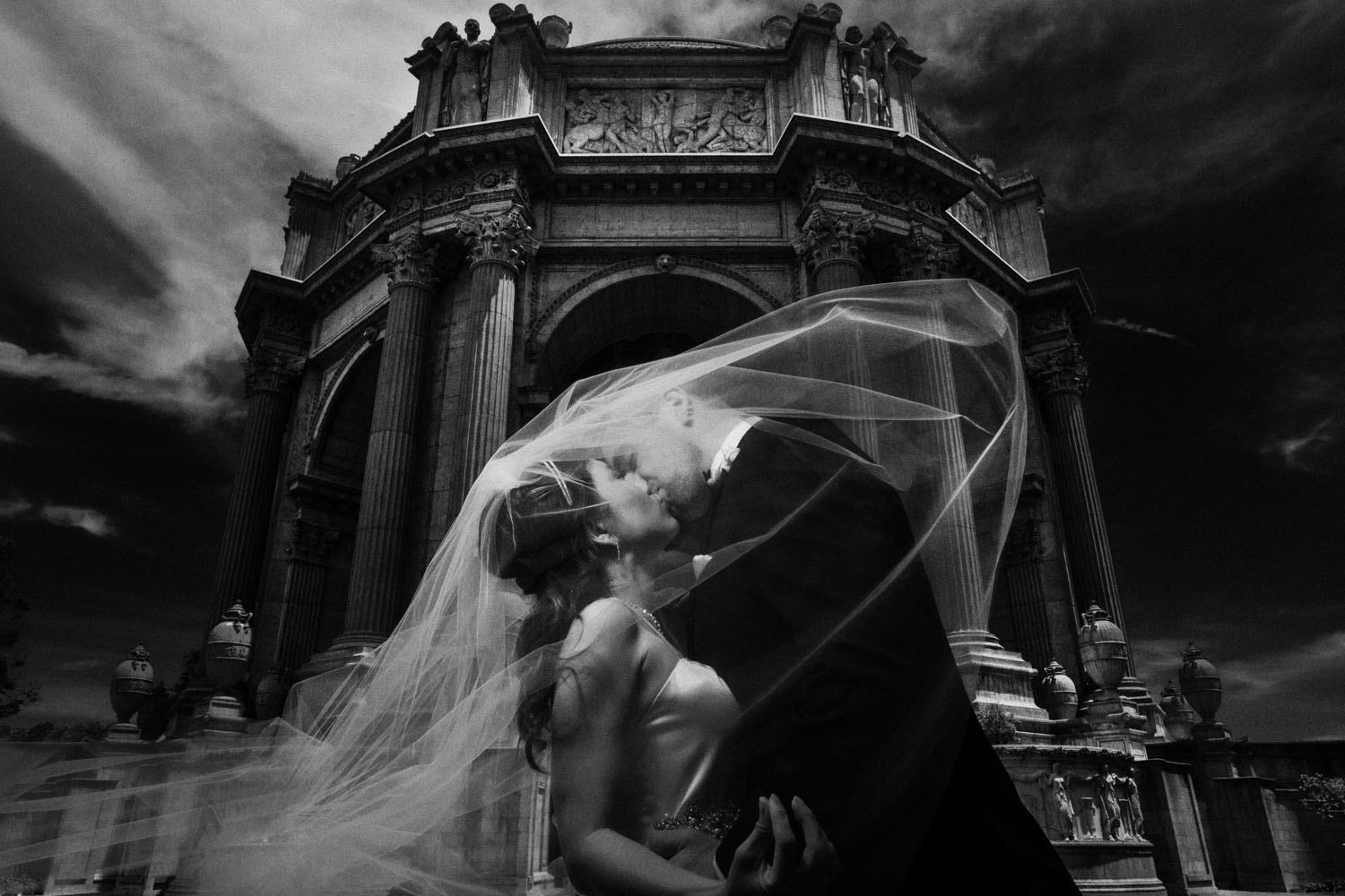 palace of fine arts wedding black and white