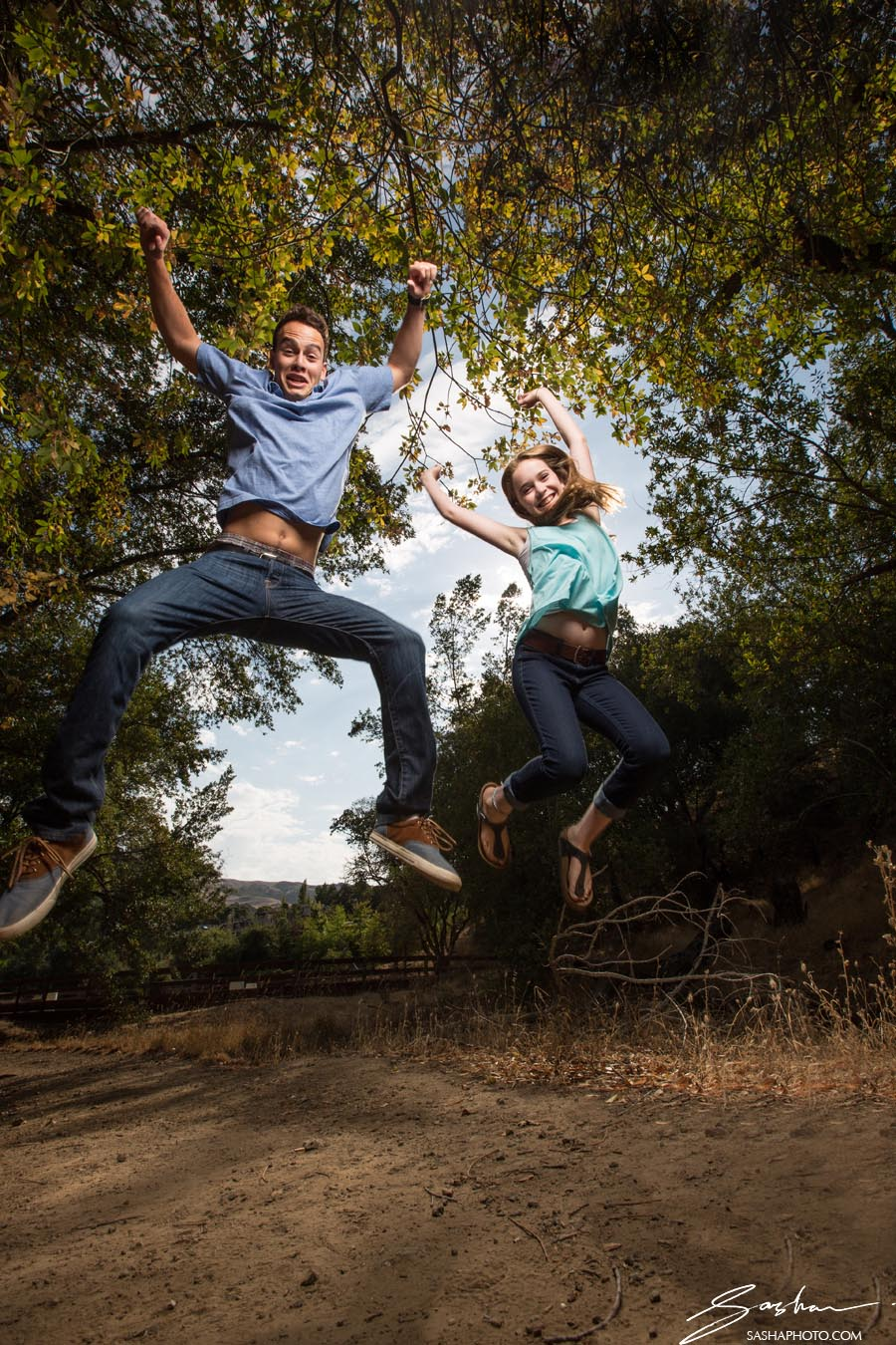 sister brother jumping