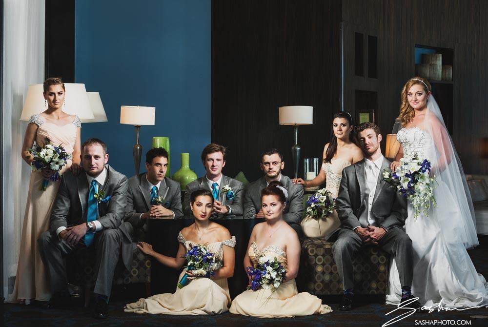 creative wedding party photo